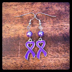 Jewelry - 💜Purple Pearl Heart Ribbon Earrings💜